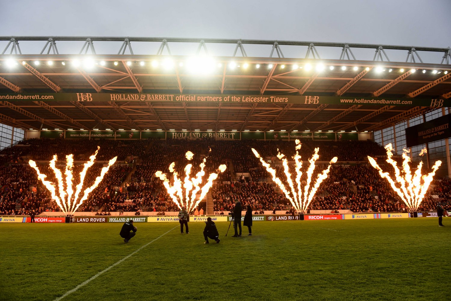 Fire cannons at Welford Road