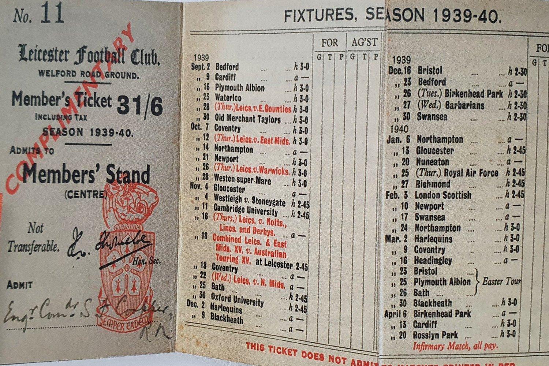 1939/40 fixture card