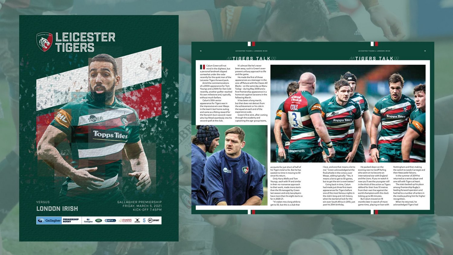 Leicester Tigers v London Irish 2020-21 - Digital Matchday Programme