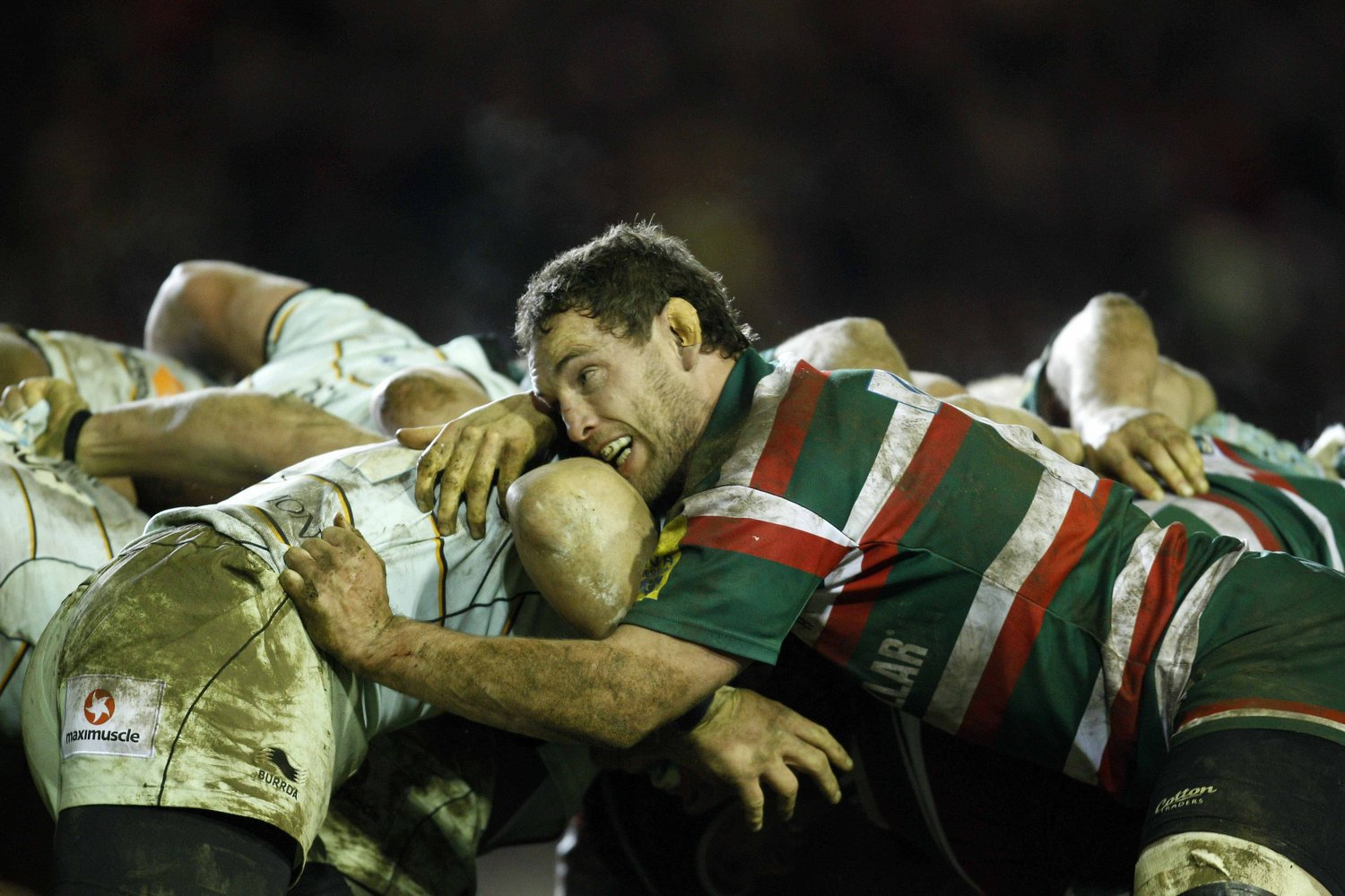 Tigers Craig Newby gets to grips with the Saints scrum in 2011/12