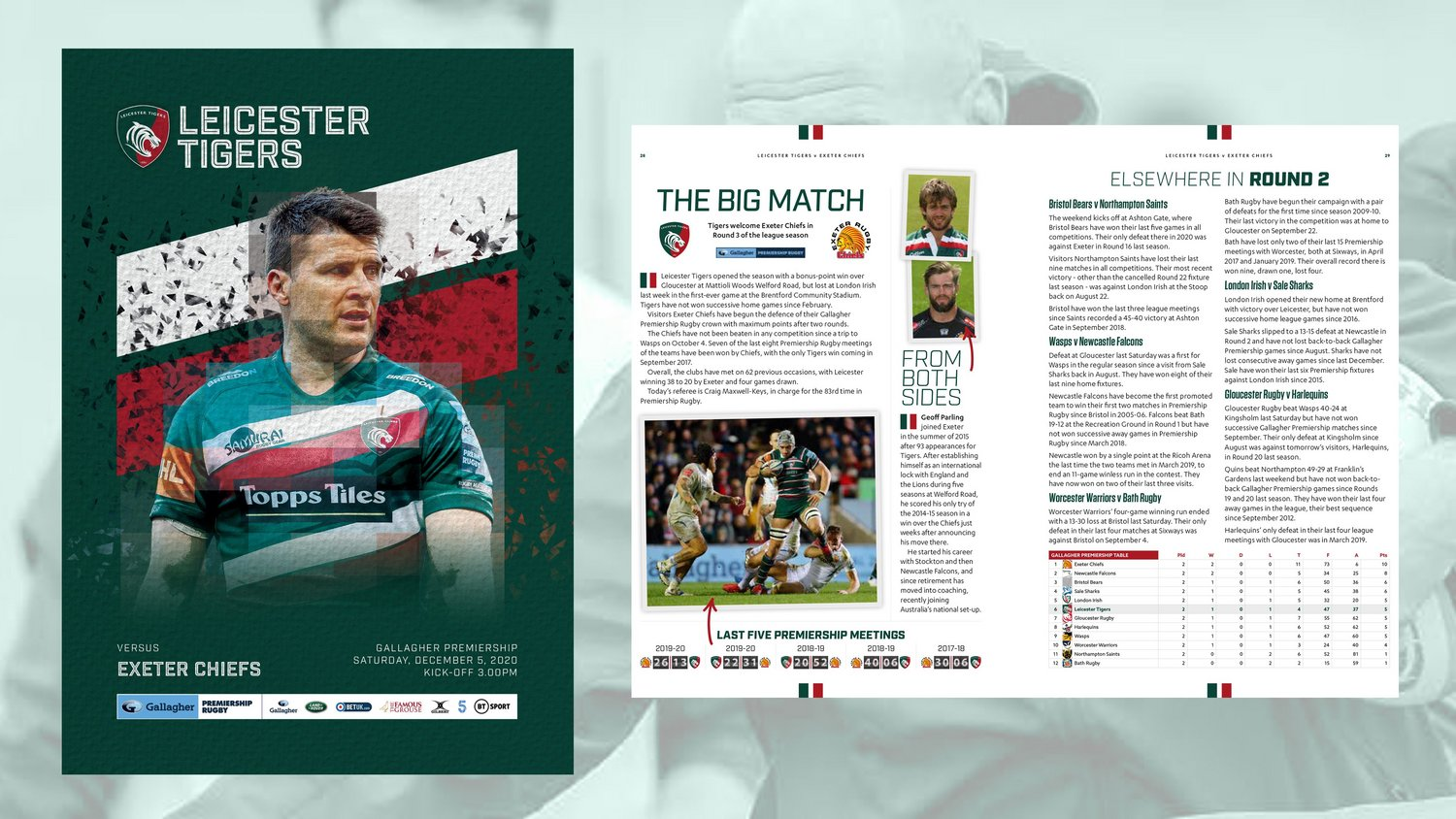 Leicester Tigers v Exeter Chiefs 2020-21 - Digital Matchday Programme