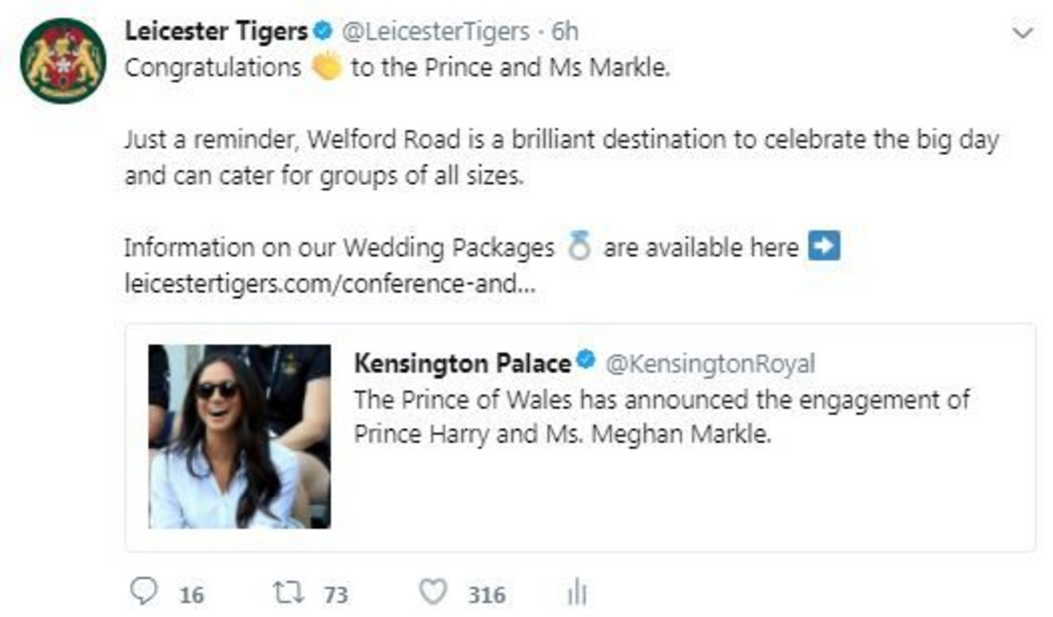 Prince Harry Meghan Markle tweet