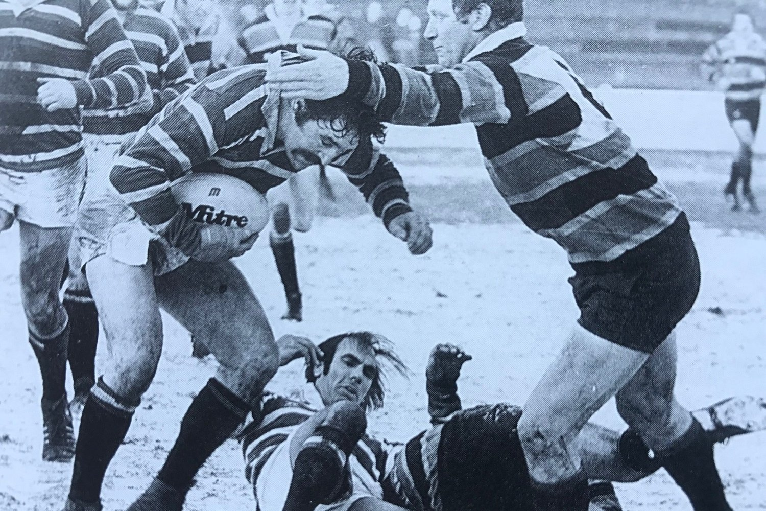 Tigers Robin Cowling takes on Saints in the first round of 'that' 1979 John Player Cup run