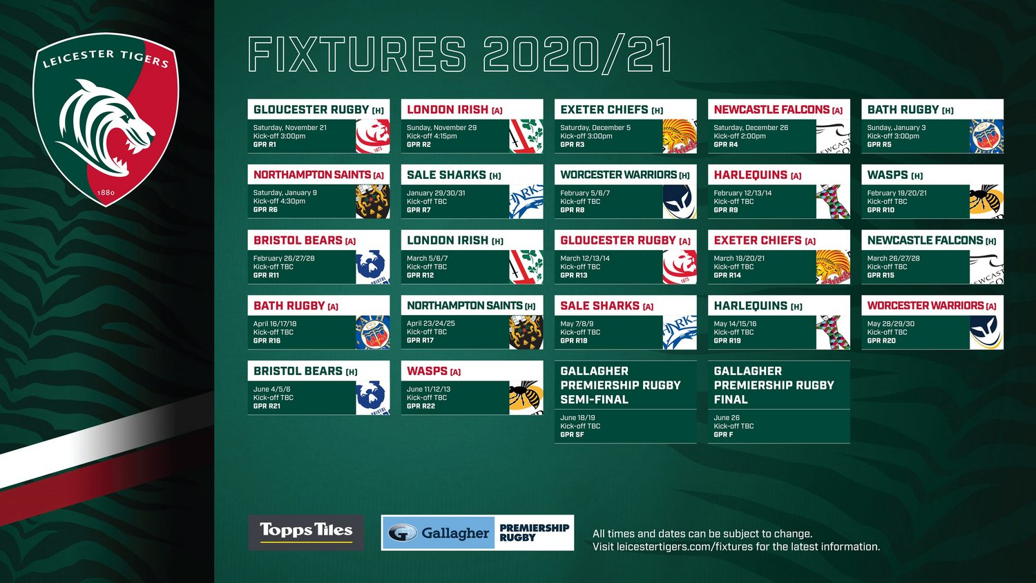 Gallagher Premiership fixtures list for 2020/21