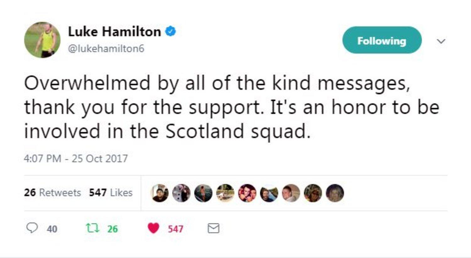 Luke Hamilton Scotland tweet
