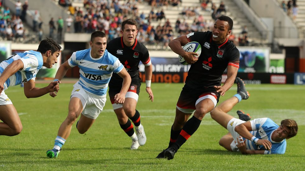 Jordan Olowofela has been among the England tryscorers on their way to the World Under-20s Final