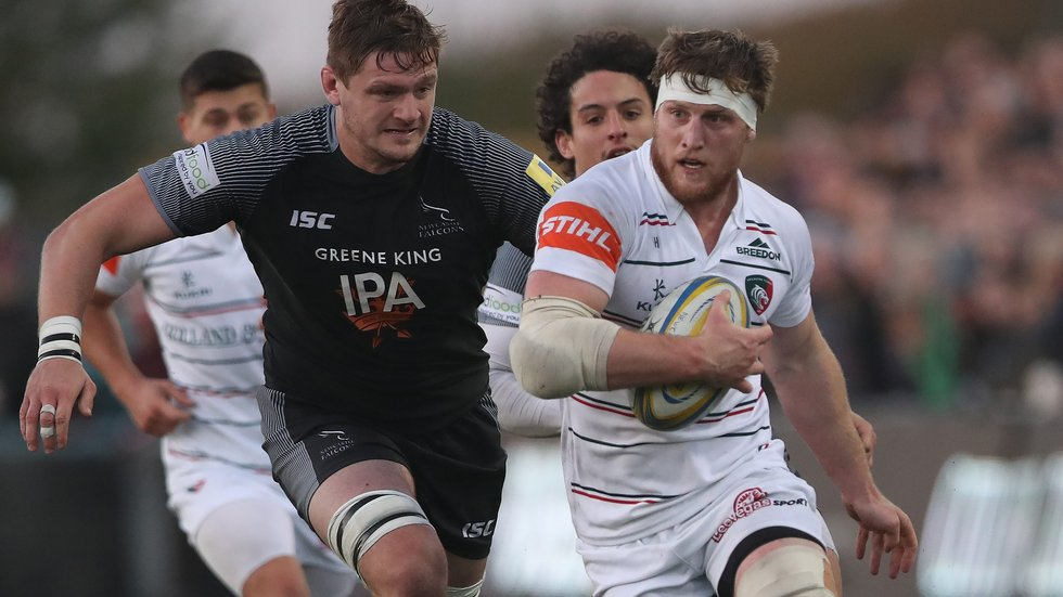 Former Tigers second-rower Calum Green chases Brendon O'Connor in the meeting of the teams at Kingston Park this season