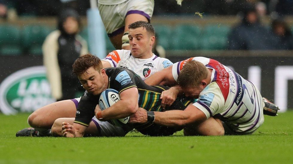 Tom Youngs joins George Ford in the Tigers defence during a valuable Derby Day victory at Twickenham