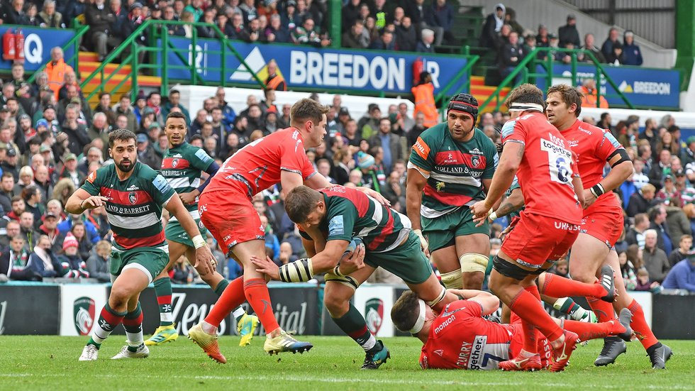 Mike Williams prepares a platform for attack in the win over Sale Sharks