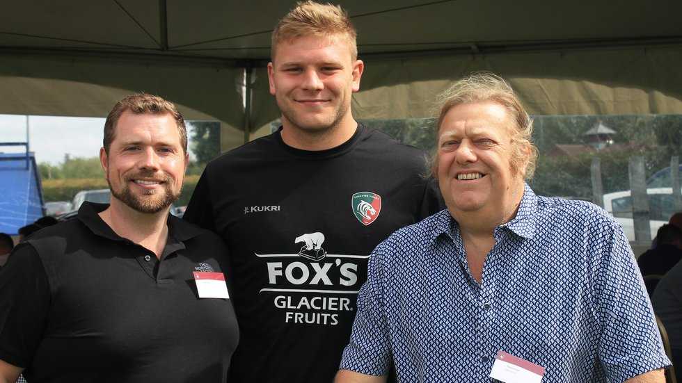 Tigers Lotto winner Thomas Smart (right) and his son David with international hooker Jake Kerr at the sponsors' day