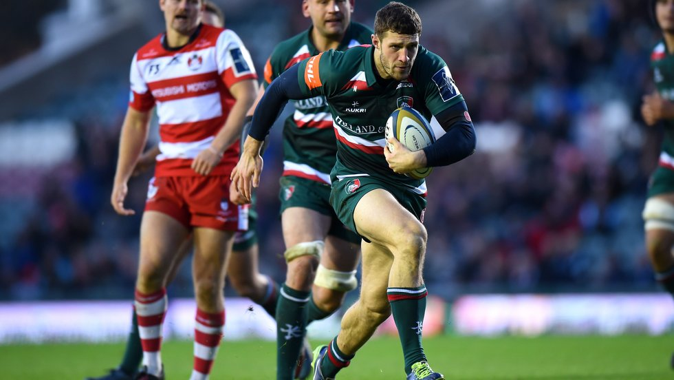 Jonah Holmes breaks free to score a debut try in the win over Gloucester