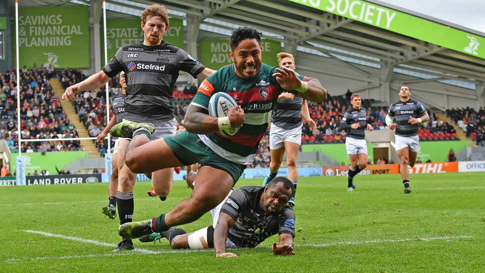 Manu Tuilagi dives over the line to score for Tigers against the Falcons at Welford Road