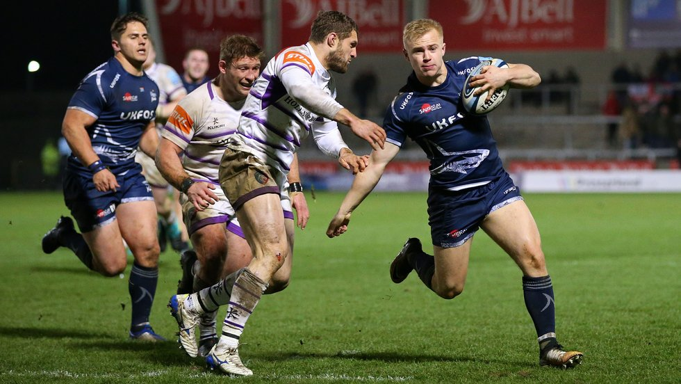 Jonah Holmes in the defensive line during last season's trip to Sale Sharks