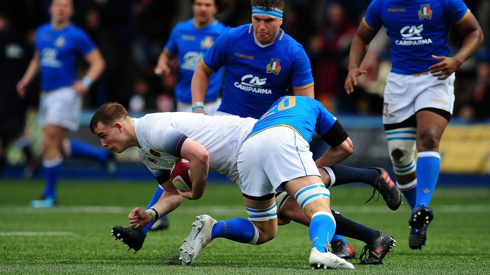Leicester flanker Henri Lavin carries ball for England against Italy in the Six Nations Festival