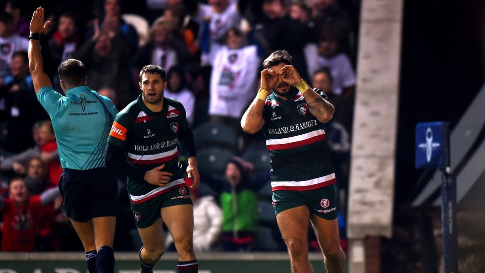 Adam Thompstone celebrates his match-winning try against Gloucester Rugby