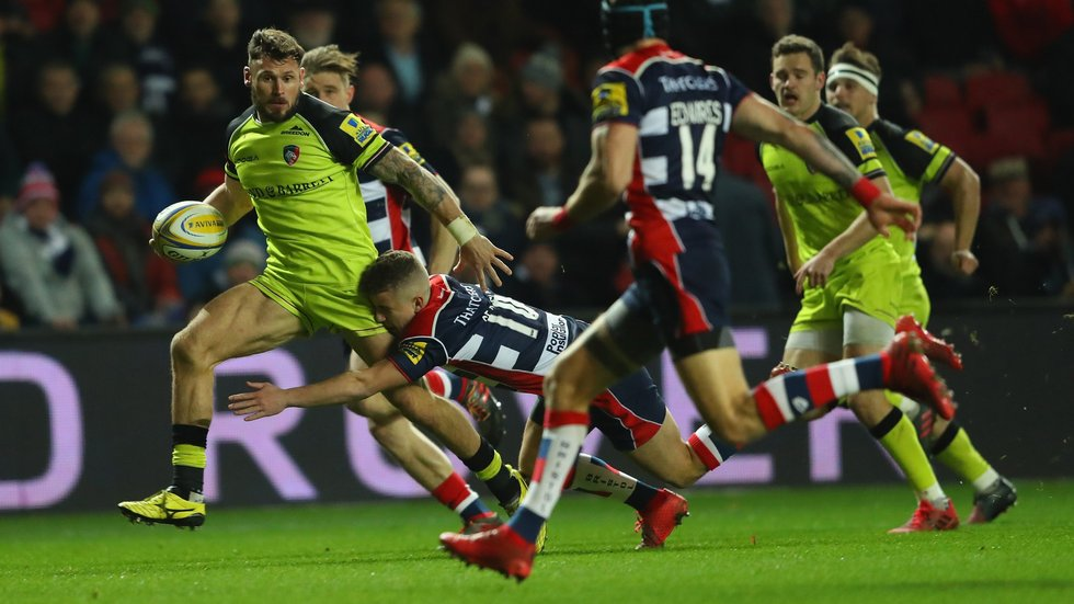 Tigers wing Adam Thompstone on the run in the win over Bristol on Leicester's last trip to Ashton Gate
