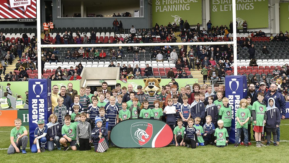 ...before gracing the Welford Road pitch at half-time of Tigers' last home fixture.