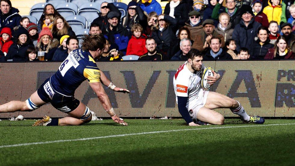 Tigers wing Jonah Holmes slides in to score a try in the bonus-point win at Sixways