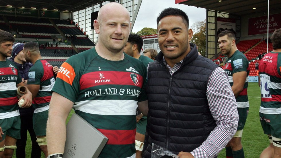 Dan Cole and Manu Tuilagi were honoured after the final whistle at Welford Road on Sunday