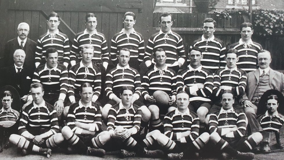 Leicester Tigers squad photo from 1913/14, little did these men know they would soon discover the tragedy of the Great War