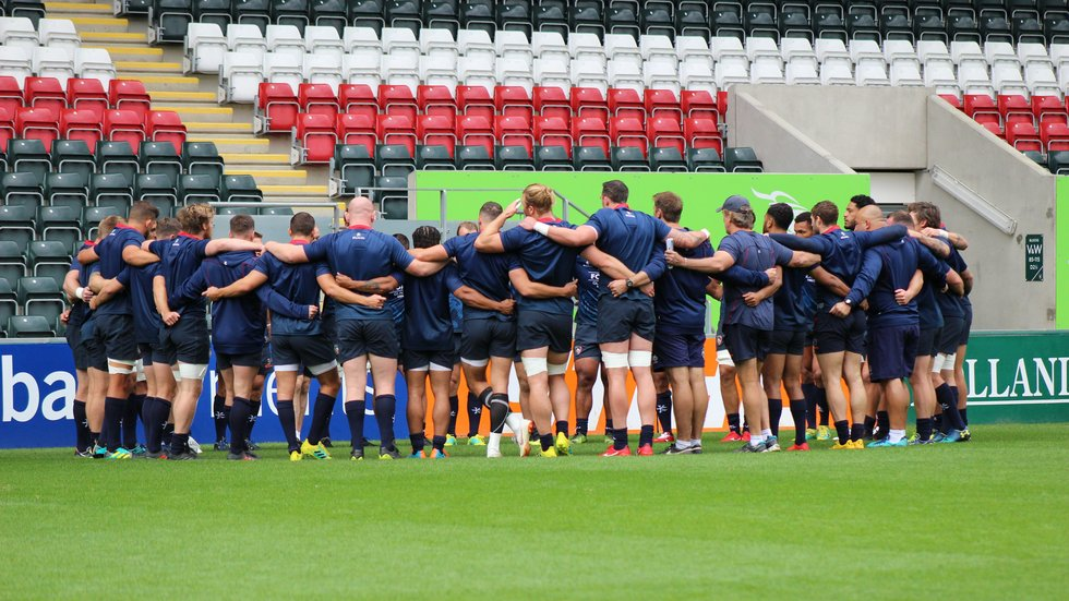 Tigers players come together before the final training session in preparation for the Premiership clash with Falcons at Welford Road