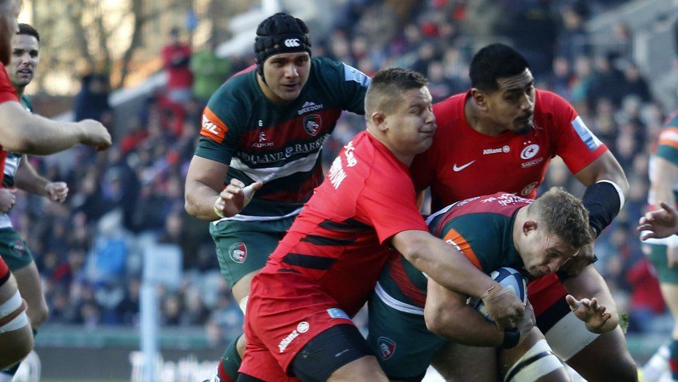 Sione Kalamafoni and Tom Youngs take on Tigers during last season's encounter at Welford Road