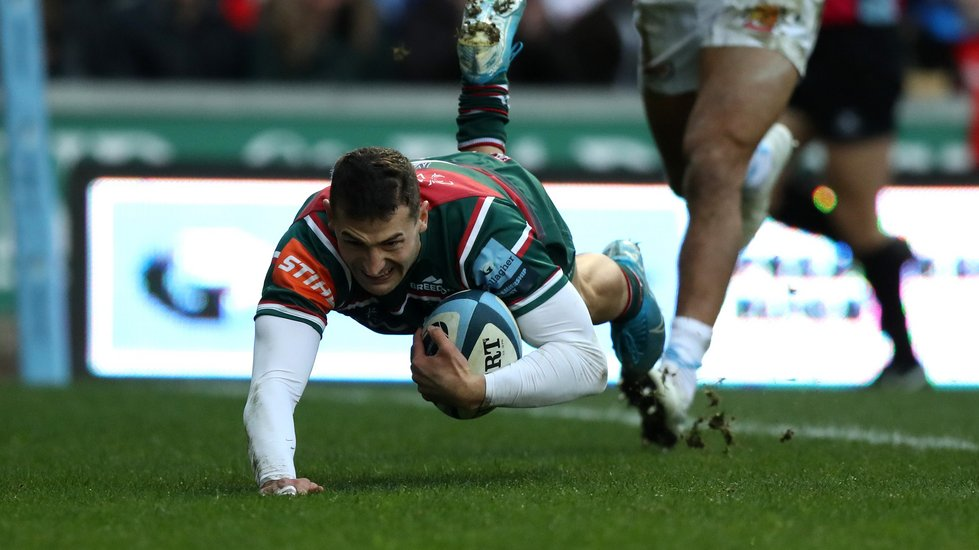 Jonny May dives in for a first-half try against the Chiefs