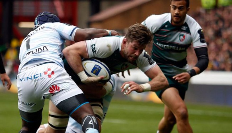Mike Fitzgerald carries ball for Tigers in the semi-final against Racing 92 in Nottingham