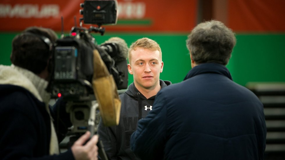 Tommy Reffell, who will captain Wales U20s against England U20s, talks to the media