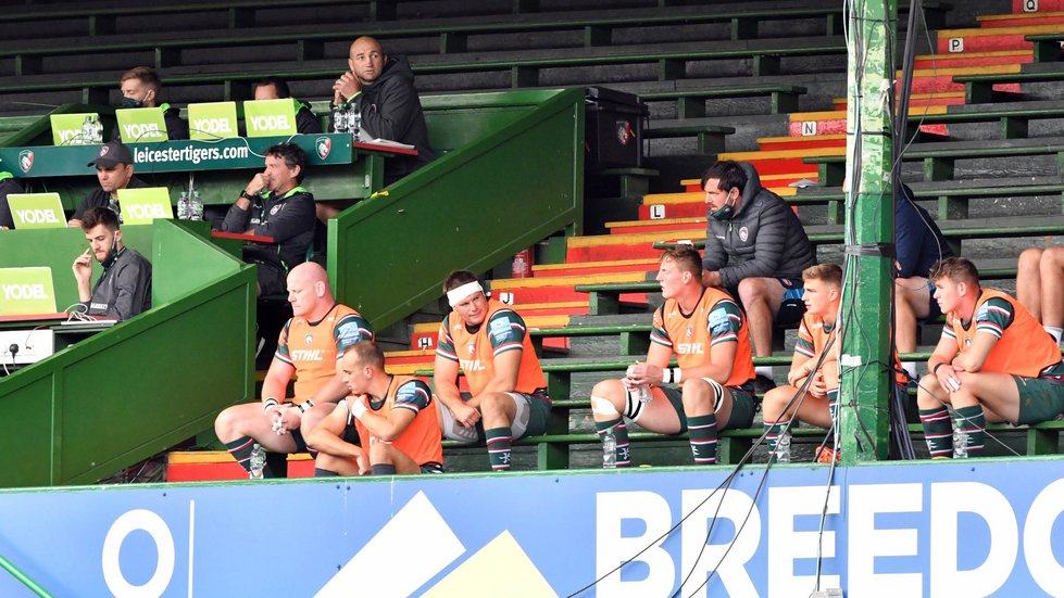 Playing and coaching staff had more space than usual in the Breedon Stand.