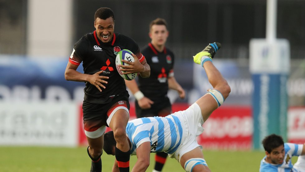 Jordan Olowofela made it five tries for the tournament with two in the final for England