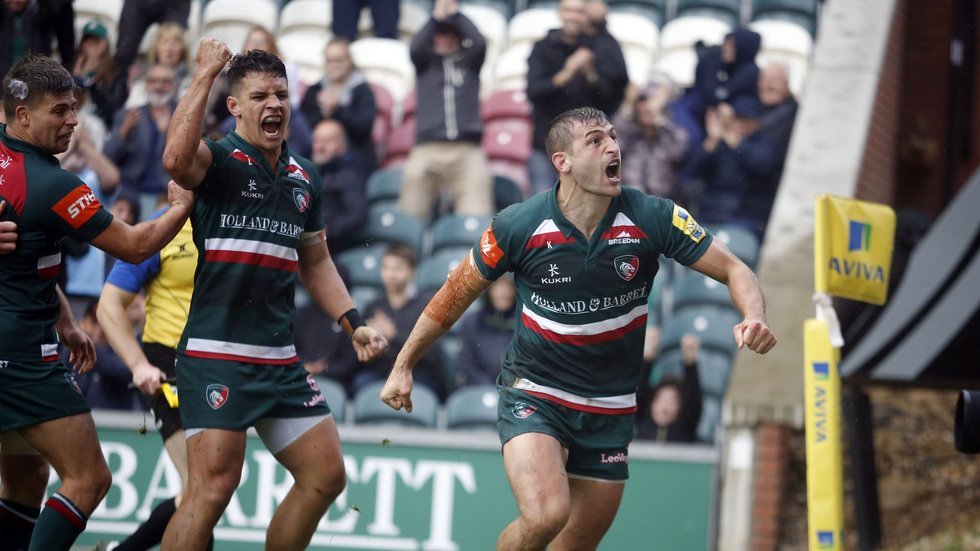 Jonny May celebrates his try in the home win against Exeter Chiefs