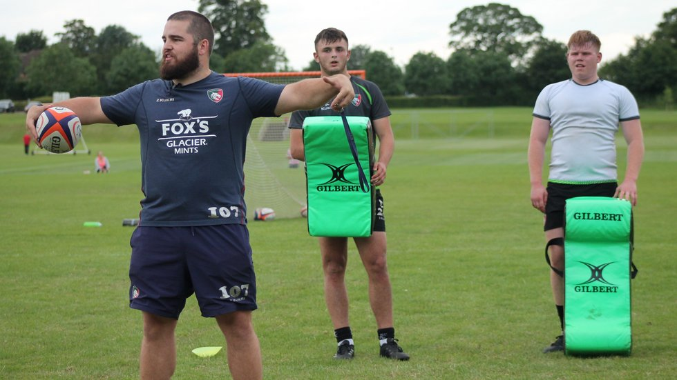 Tigers academy forwards coach Tom Harrison addressing players during the 2019/20 pre-season