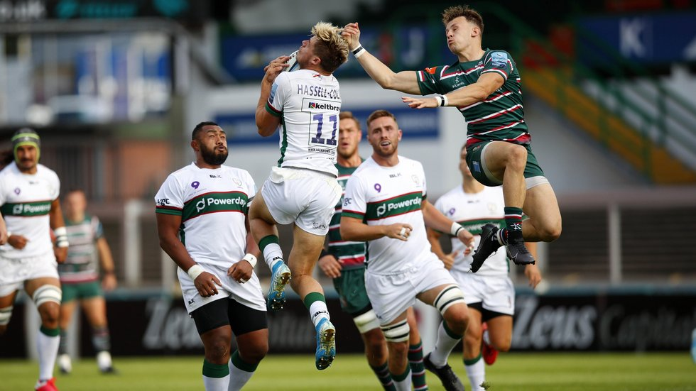 Tigers wing David Williams challenges for high ball in the most recent meeting with London Irish