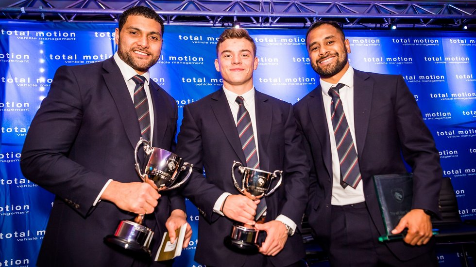 The winners of the Leicester Tigers Players' Player Awards for 2017/18