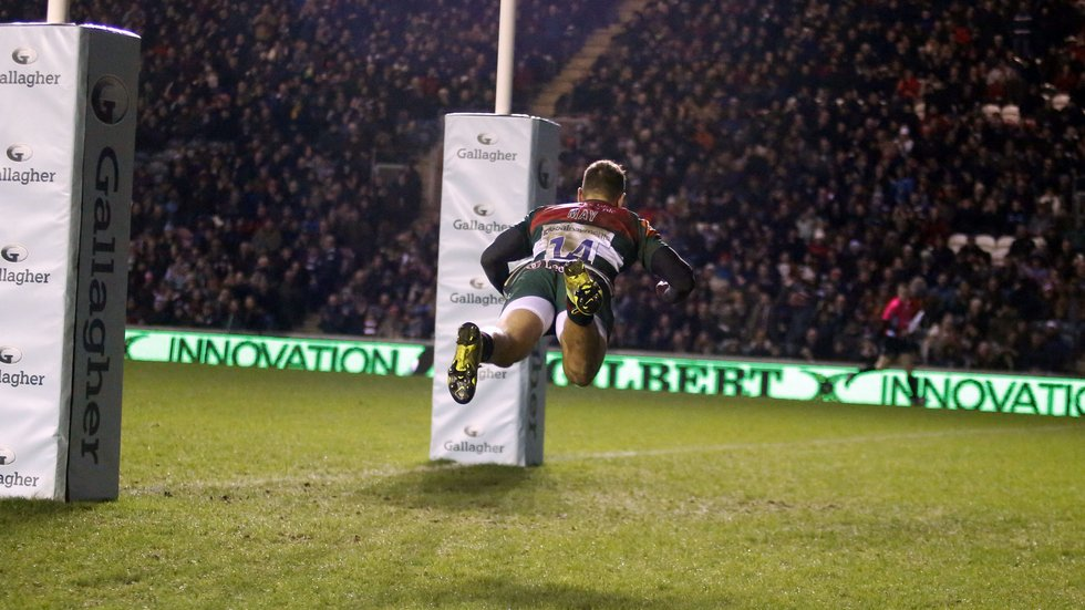 Jonny May scored two tries against his former club in the win for Tigers against Gloucester last season