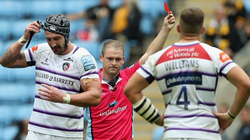 Will Spencer was sent off by referee Ian Tempest against Wasps on Sunday