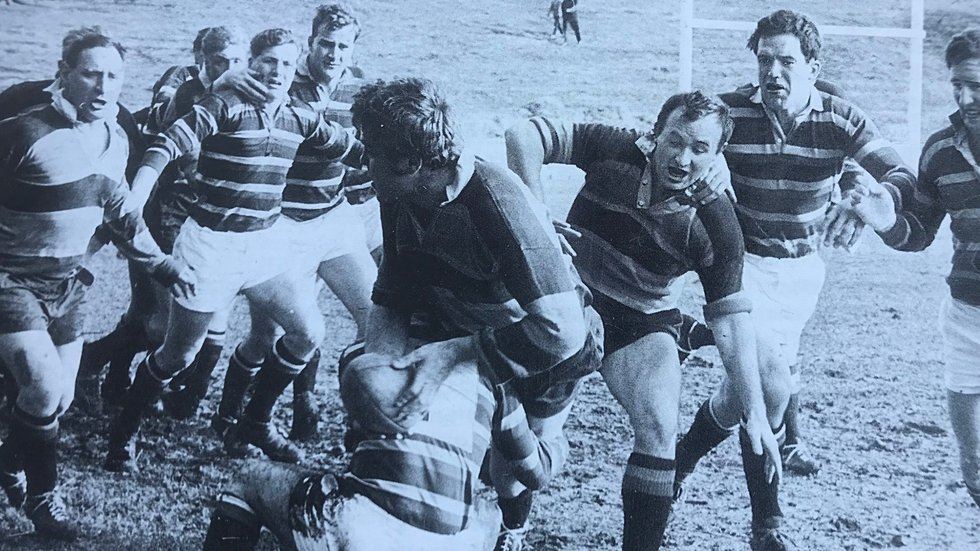 Tigers scrum-half John Allen tackles a Saints forward during a match in February, 1966
