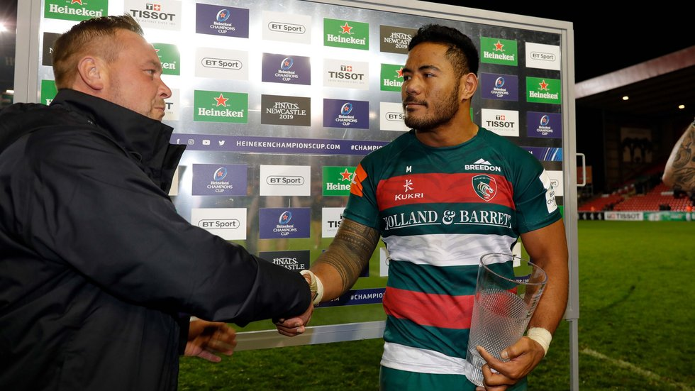 Manu Tuilagi collected the Heineken Man of the Match award at the full-time whistle in Friday's game at Welford Road