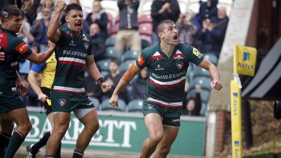 Jonny May celebrates his score in the home win against Exeter Chiefs in one of the high points of the season