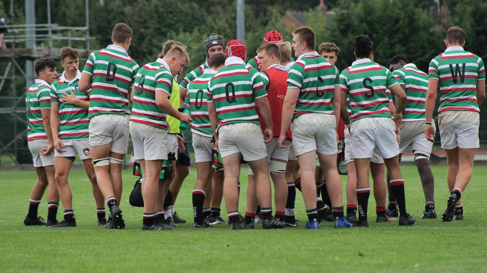 The Tigers Academy squad come together after scoring against Bristol in a pre-season fixture at Oval Park