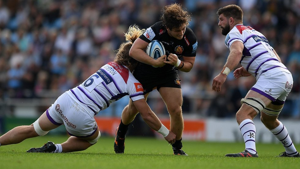 David Denton makes a tackle for Tigers in defeat at Exeter on Saturday
