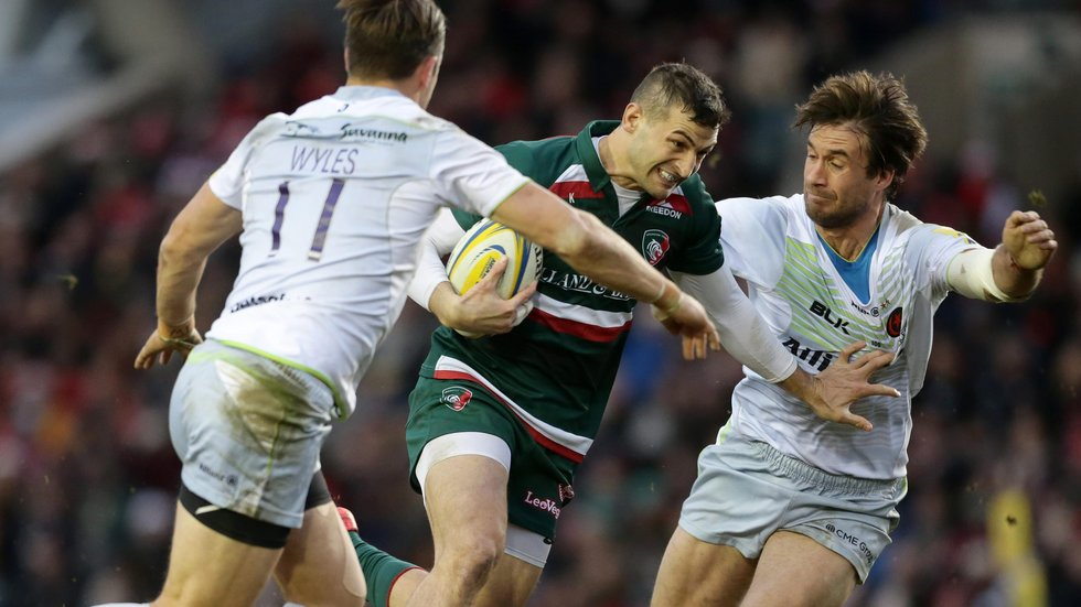 Jonny May threatens a break but the Tigers wing ended the game early after collecting a second yellow card