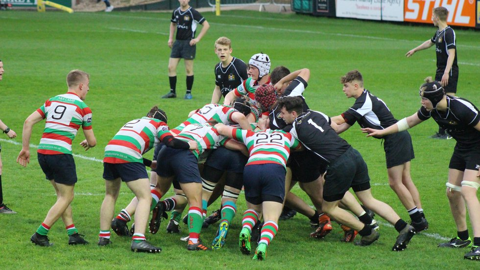 Lutterworth on the attack through the forwards in the County Colts Cup Final against Market Harborough