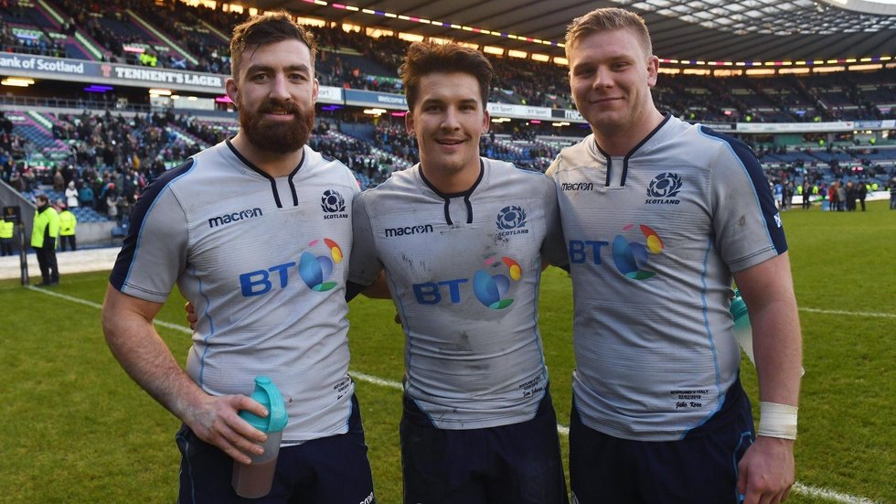 Jake Kerr (right) with Scotland's fellow debutants following their victory over Italy on Saturday