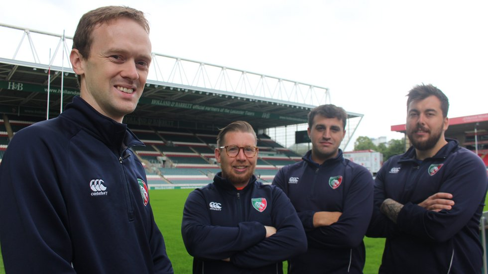 (L-R) David McDonald, Sam Johnston, Laurence Walters and Joe Reynolds all help deliver Project Rugby across Leicester Tigers' catchment area.
