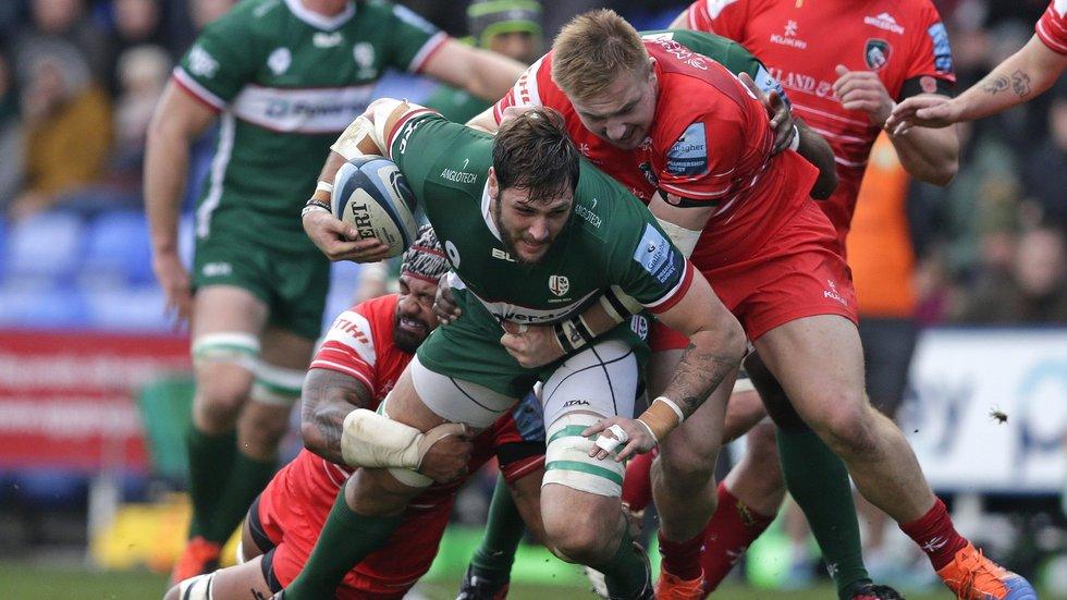 Joe Heyes combines with Jordan Taufua in defence against Irish earlier this season