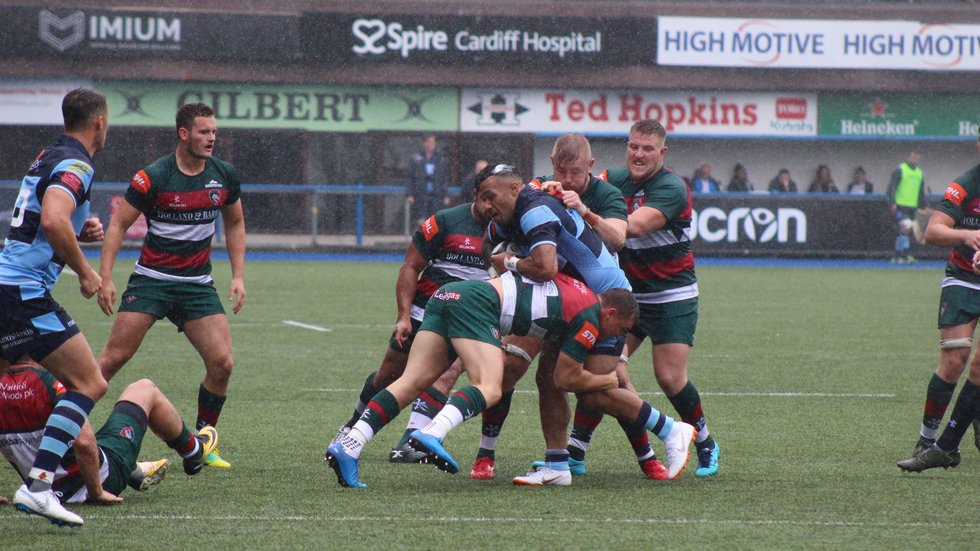 Tigers get through their work in defence during Saturday's trip to face Cardiff Blues at the Arms Park
