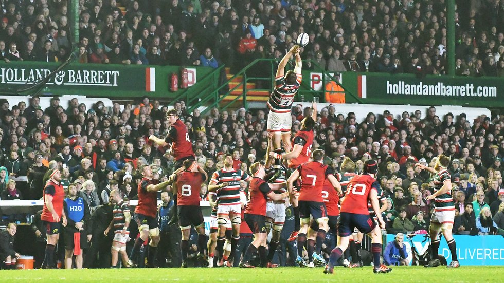 A big European crowd watches Tigers against Munster in 2016/17