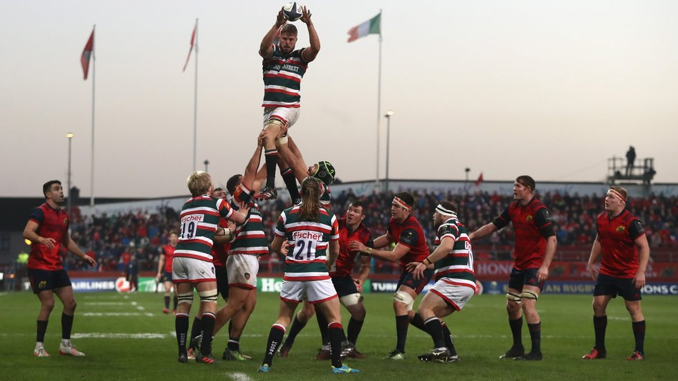 Tigers claim lineout ball during a tough afternoon at Thomond Park on their last visit in 2016/17
